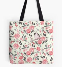 Template design illustration tote bags redbubble watercolor floral background with cute bird 2 tote bag maxwellsz
