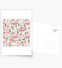 Watercolor floral background with cute bird /2 Postcards