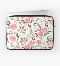 Aquarellblumenhintergrund mit nettem Vogel / 2 Laptoptasche