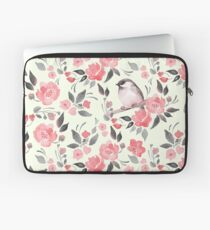 Watercolor floral background with cute bird /2 Laptop Sleeve