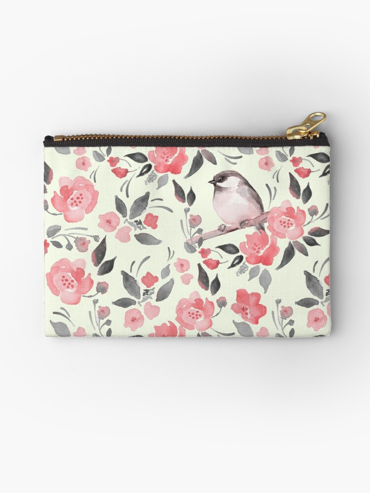 Watercolor floral background with cute bird /2 by Gribanessa