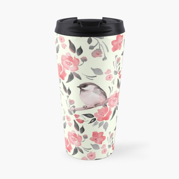 Watercolor floral background with cute bird /2 Travel Mug
