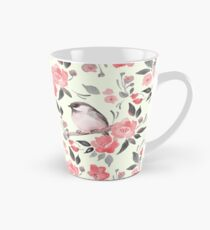 Watercolor floral background with cute bird /2 Tall Mug