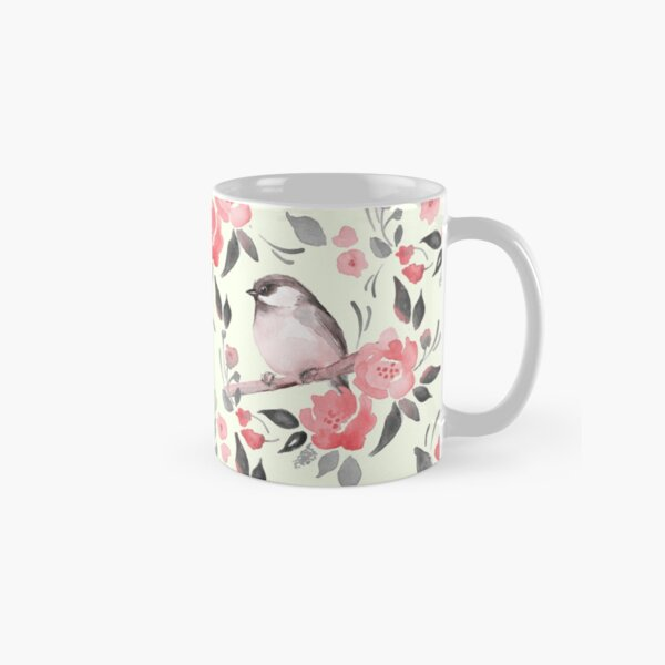 Watercolor floral background with cute bird /2 Classic Mug