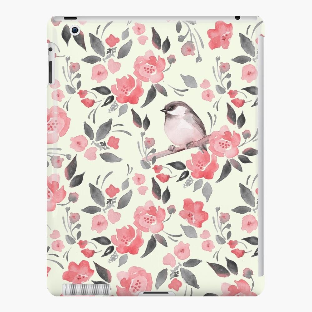 Aquarellblumenhintergrund mit nettem Vogel / 2 iPad-Hülle & Skin