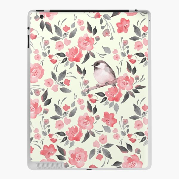 Watercolor floral background with cute bird /2 iPad Skin