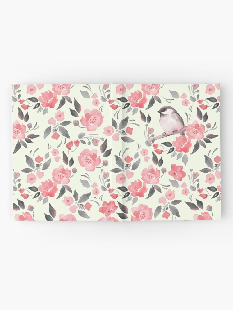 Alternate view of Watercolor floral background with cute bird /2 Hardcover Journal