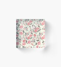 Watercolor floral background with cute bird /2 Acrylic Block