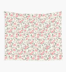 Watercolor floral background with cute bird /2 Wall Tapestry