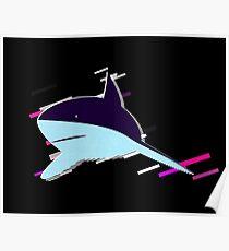 Shark perspective Eighties Retro Violet and Purple Poster