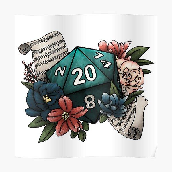 Bard Class D20 - Tabletop Gaming Dice Poster