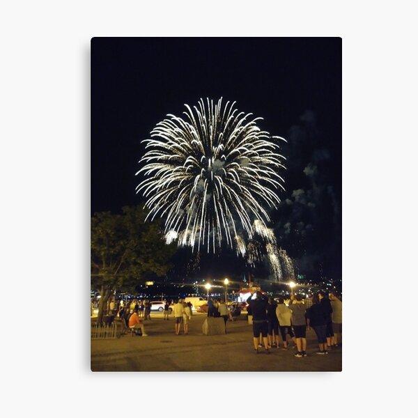 Fireworks, Quebec City, #QuebecCity, #Quebec, #City, #Canada, #buildings, #streets, #places, #views, #nature, #people, #tourists, #pedestrians, #architecture, #flowers, #monuments Canvas Print