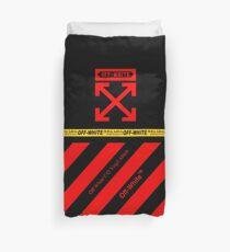 Off White Cover Full Black and Red Stripes Duvet Cover