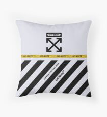 Off White Cover Full Black and White Stripes Throw Pillow