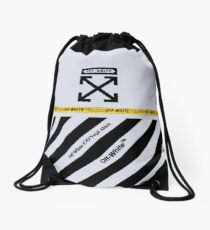 Off White Cover Full Black and White Stripes Drawstring Bag
