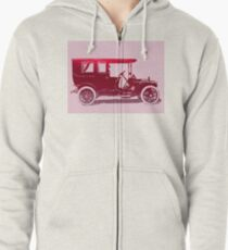 1909 Packard Limousine Red Pop Zipped Hoodie
