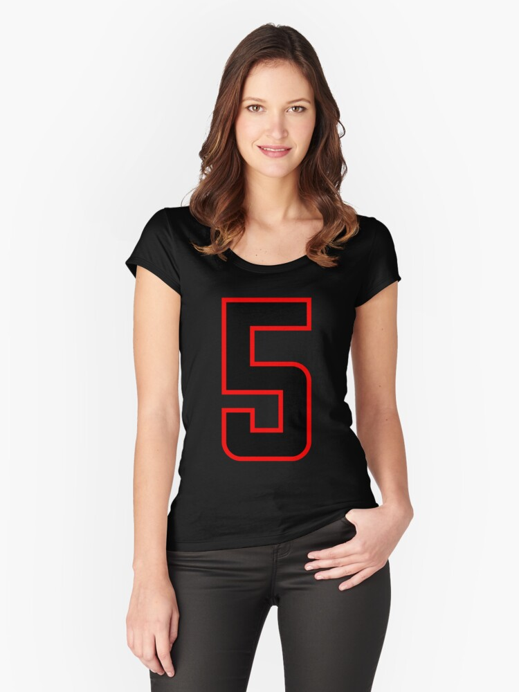Number 5 (1-99) Women's Fitted Scoop T-Shirt Front
