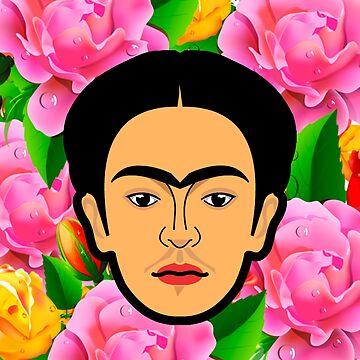 Frida Kahlo minimal flowers by edleon