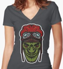 Green Goblin Rider Vector Art Women's Fitted V-Neck T-Shirt