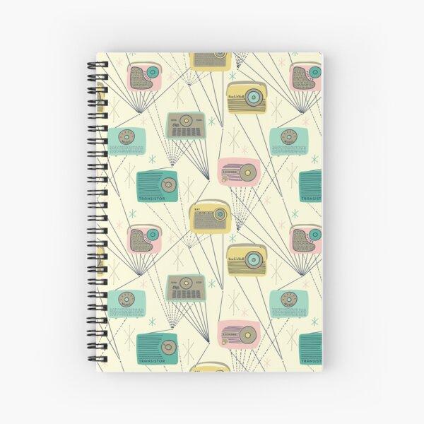 Mid-century Modern Transistor Radios and Atomic Stars / Cream Spiral Notebook