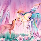 Sienna and the Deer Embrace the Cherry Blossom Tree by Michelle Tracey