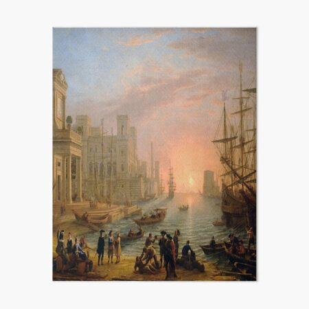 Seaport at Sunset-Claude Lorrain Art Board Print