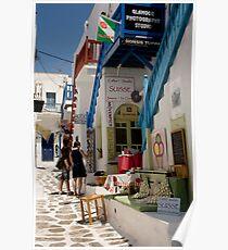 Santorini Shopfronts Poster