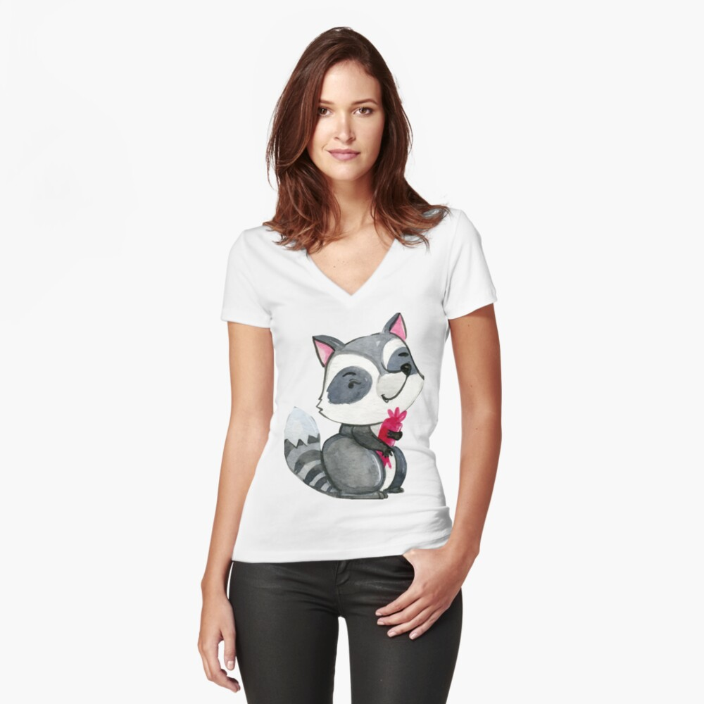 Animal  Women's Fitted V-Neck T-Shirt Front
