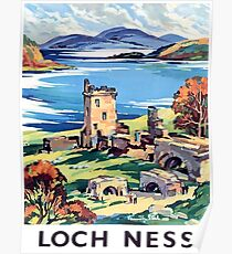 Loch Ness lake, Scotland, vintage travel poster Poster