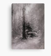 Pine Tree Forest Charcoal Drawing Metal Print