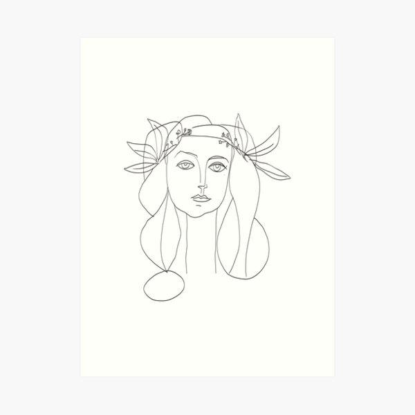 Picasso Line Art - Frauenkopf Kunstdruck