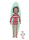 Stripy longboarder with seagull by Sandy Mitchell