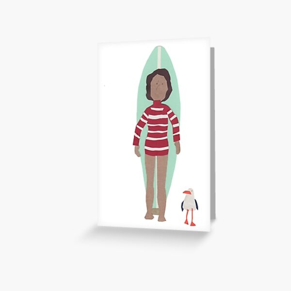Stripy longboarder with seagull Greeting Card