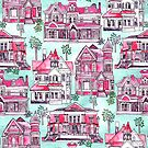 Bright Watercolor Victorian Houses  by TigaTiga