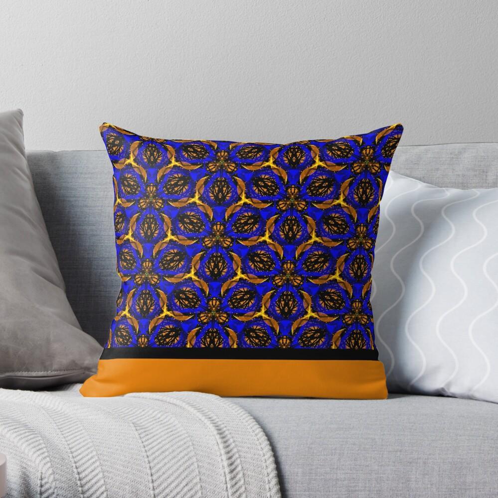 Blue yellow African print  Throw Pillow