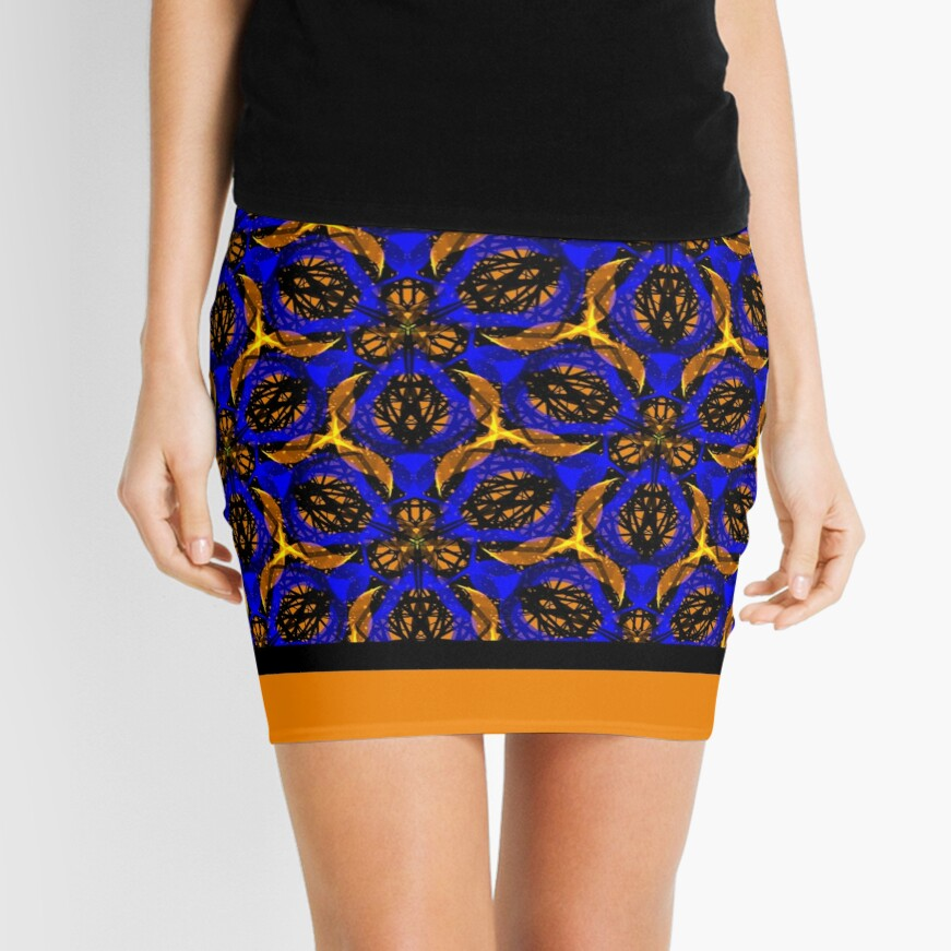Blue yellow African print  Mini Skirt