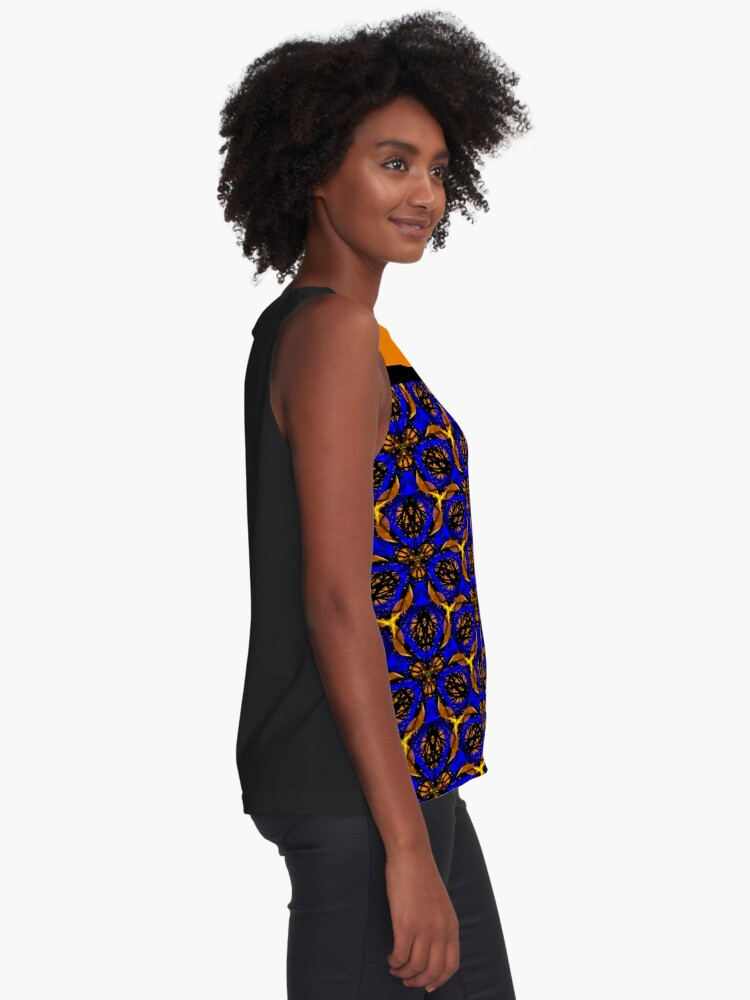 Alternate view of Blue yellow African print  Sleeveless Top
