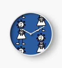 The girl with the curly hair - mid blue Clock