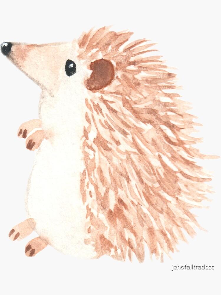 Hedgehog cute original watercolor painting by jenofalltradesc