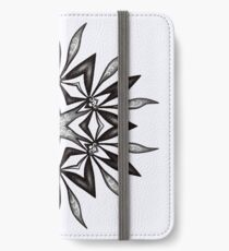 Kaleidoscopic Flower In Black And White iPhone Wallet/Case/Skin
