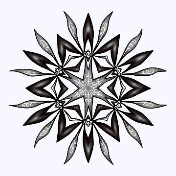 Kaleidoscopic Flower In Black And White by azzza