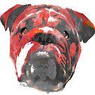 bulldog 2 watercolor dog portrait by freeinthelines