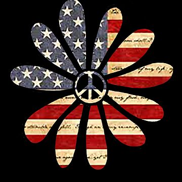 Hippie Flower Power Peace Sign American Flag by Swigalicious