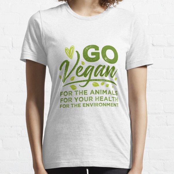 Vegan Tshirt Go Vegan Vegetarian Essential T-Shirt