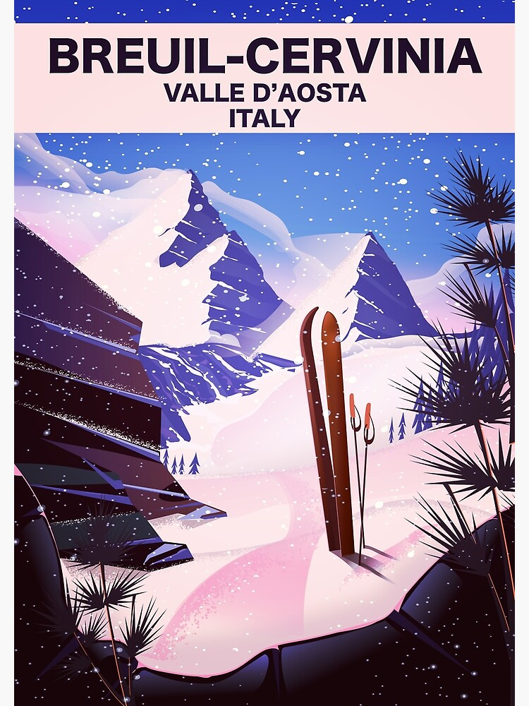 Breuil-Cervinia Valle d'Aosta Italy Ski poster by vectorwebstore