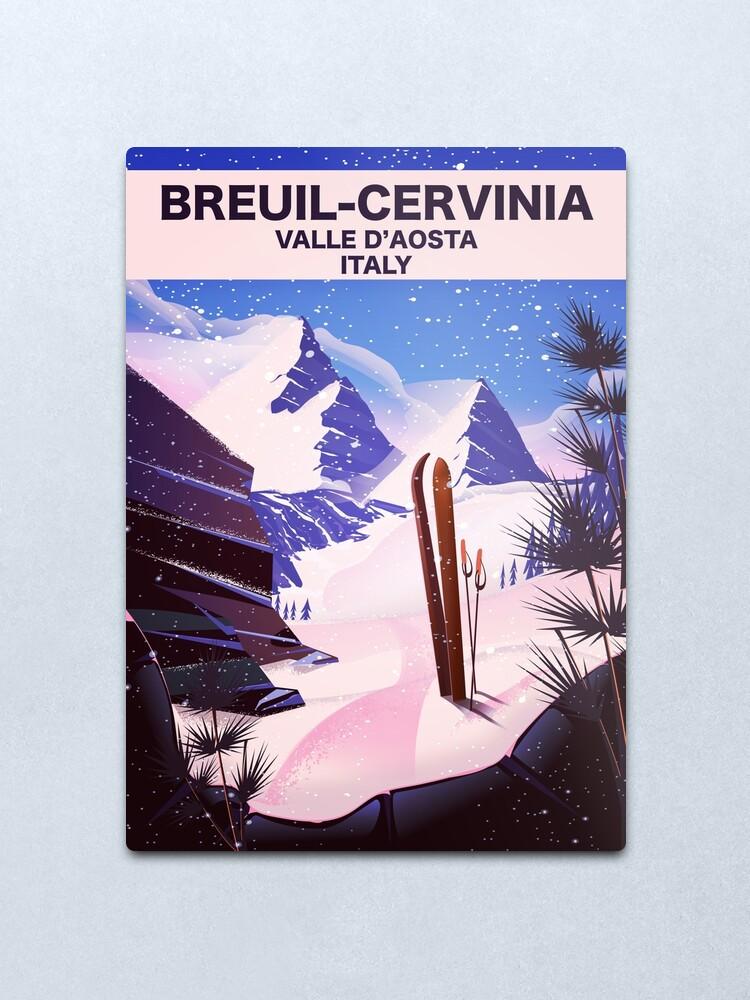 Alternate view of Breuil-Cervinia Valle d'Aosta Italy Ski poster Metal Print