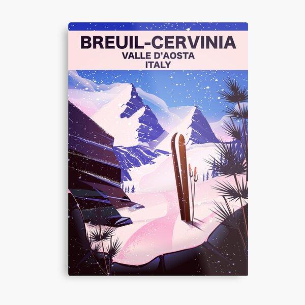 Breuil-Cervinia Valle d'Aosta Italy Ski poster Metal Print