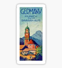 Germany, Munich and the Bavarian Alps, vintage travel poster Sticker