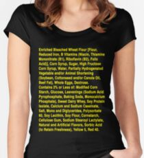 Twinkie ingredients (yellow text on dark color shirts) Women's Fitted Scoop T-Shirt