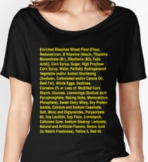 Twinkie ingredients (yellow text on dark color shirts) Women's Relaxed Fit T-Shirt